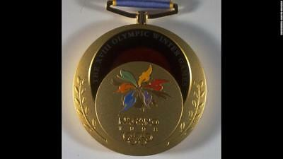 1998 Nagano Olympic 'Gold' Medal with Logo Ribbons & Display Stand !!!