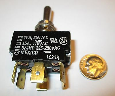 """Carling  Toggle Switch  Dpdt On-Off-On 1/4"""" Qc Terms.  New, Old Stock"""