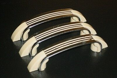 3 Vintage Art Deco Chrome Industrial Mid Century Cream Line Drawer Pull