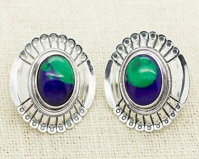 Vintage Native Sterling Silver Turquoise Lapis Post Earrings Signed STC