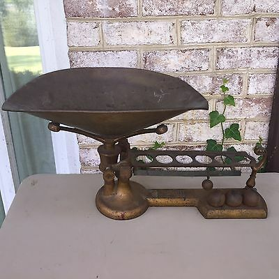Antique H.troemner Ball Beam Scale # 24 Brass Pan Candy Grocery Scale