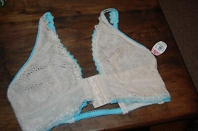 NWT Large Secret Treasures tan and teal lace bralette