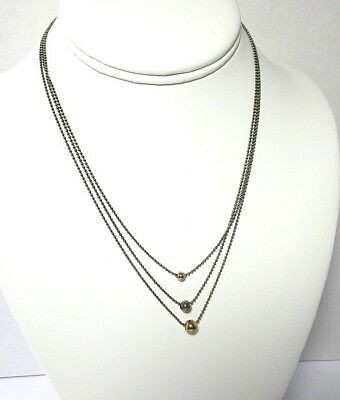 925 Sterling Silver Three Chain Necklace w Gold Plated Beads 6.3 grams