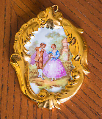 Beautiful Rare Limoges Small Oval Heavy Gold Guilding Fragonard Wall Plaque