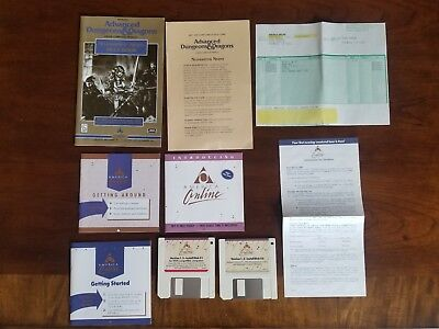 Neverwinter Nights America Online AOL disks and Rule Book & extras SSI AD&D