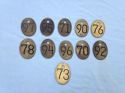 Vintage Brass Dairy Cow Cattle Tag Number Lot of 11 New Old Stock