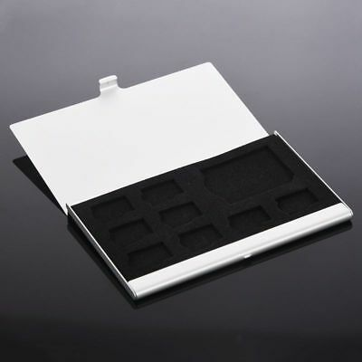 Silver Micro SD/SD Memory Card Storage Holder Box Protector Metal Case 8 TF 1 SD