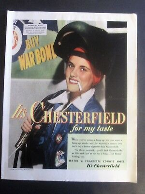 Rosie The Riviter WWII Factory Worker Chesterfield Cigarette Ad