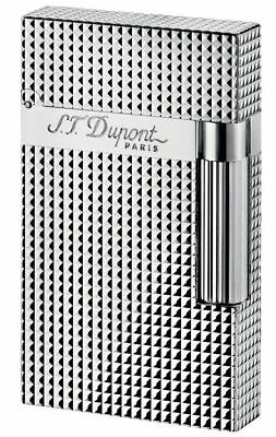 S.T. Dupont Ligne 2, Silver Plated Diamond Head Lighter, ST016184 New In Box