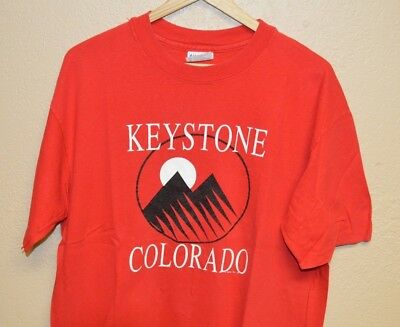 Mens True Vintage 1989 Keystone Colorado Rocky Mountains T-Shirt size XL Beefy