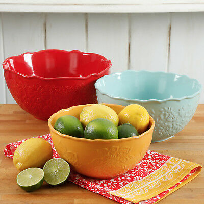 Serving Bowl Set 3 Pc Nesting Floral Stoneware Pioneer Woman FREE SHIPPING