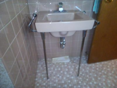 AMERICAN STANDARD Wall Mount Sink Tan w/ Chrome Legs & Towel Bars VINTAGE 1960s