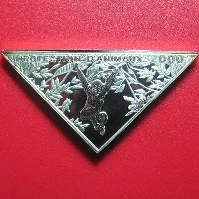 2000 Congo 10 Francs Silver Proof Chimpanzee Hanging Lion Triangular Rare Coin