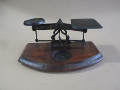 Letter scales, brass, wooden base, antique