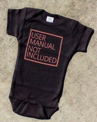 User Manual One Piece Baby Romper Cute Funny Geeky Novelty Gift Cool Black Alt