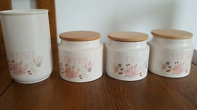 Boots Hedge Rose Coffee  Sugar & Tea Storage Jars Plus Utensil Jar
