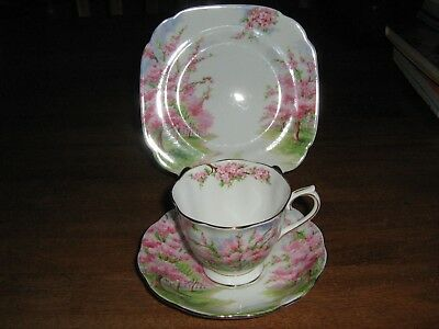 Royal Abbert Fine China Made In England Blossom Time Trio Mint Condition Unused.
