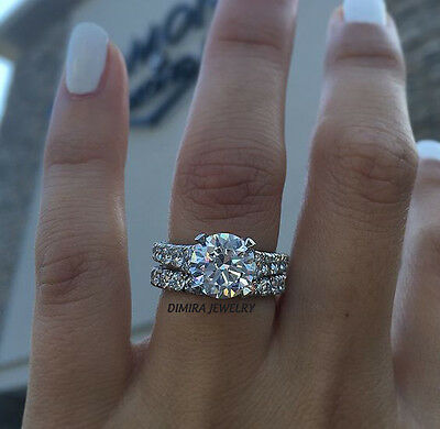 2CT Round-Cut Diamond Solitaire Bridal Pave Engagement Ring 14k White Gold over