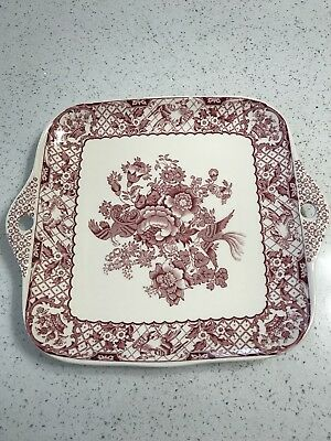 Masons Pink/Red Vista Square Sandwich Tray with Handles