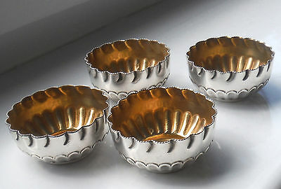 Set Four Edwardian Silver Plated Gold Washed Salts-Crimped Rims