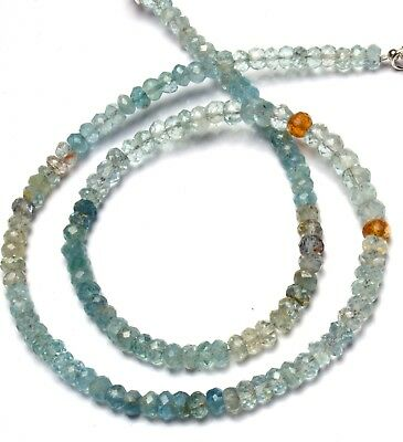 """Natural Gem Faceted Multicolor Aquamarine 5 to 6MM Rondelle Beads Necklace 16.5"""""""