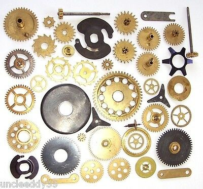 Lot of 30+ vintage large small clock brass gears wheels cogs Steampunk parts #2