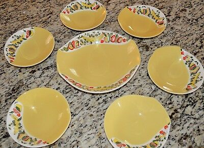 Figgjo Flint Norway MCM 1950's Spring Summer Party 7 Pc Fruit Bowl Set RARE