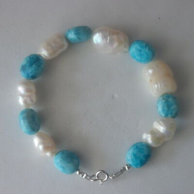 "Beautiful Bracelet With Freshwater Biva Pearls And Turquoise 8"" Inch In Gift Box"