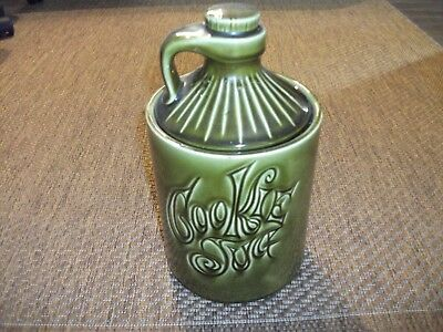 Vintage Retro Chic McCoy Moonshine Whiskey Jug Green Pottery Cookie Jar