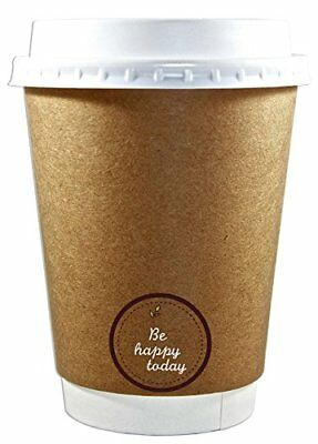 Premium Quality 12oz Disposable Paper Coffee Cups with Lids 50 counts Insulated