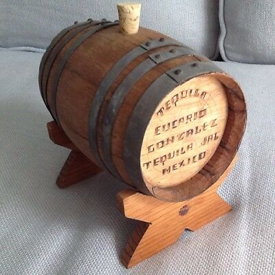 Oak Tequila Mini Empty Barrel With Stand, I Brought Back Fr. Mazatlan In 1966