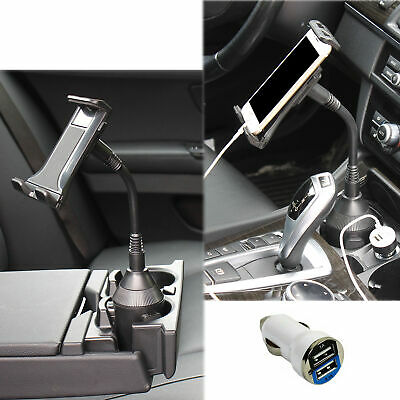 "Adjustable Car Cup Holder Mount for 4.7""~ 10"" Phone iPads Tablets with USB Power"