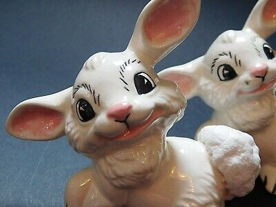 Lot of 2 Handpainted Ceramic White Rabbits Bunnies Signed: Long 1973 MINT Easter