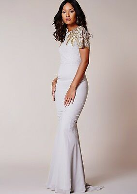 Virgos Lounge Silver Pearl Embellished Long Cocktail Wedding Maxi Dress 6 to 16