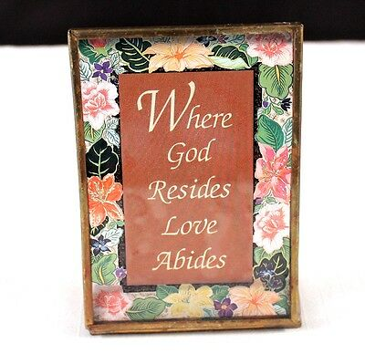 """Vintage 4"""" Stain Glass Looking Standing Religious Decor """"Where God Resides..."""""""