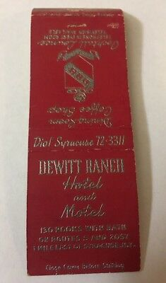 Vintage Matchbook Cover Matchcover Dewitt Ranch Hotel Motel Syracuse Ny
