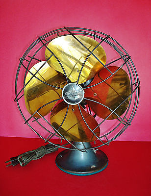 "EMERSON ELECTRIC St. Louis, MO. Osc. 10"" dia. Brass FAN - Working Original Cond."