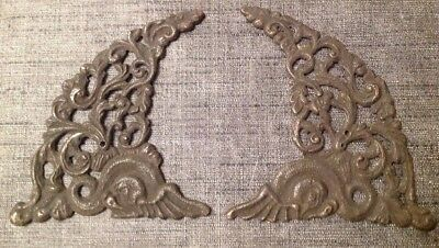 ANTIQUE SPANDRELS LONGCASE GRANDFATHER BRACKET CLOCK PAIR CAST BRASS 150x105mm