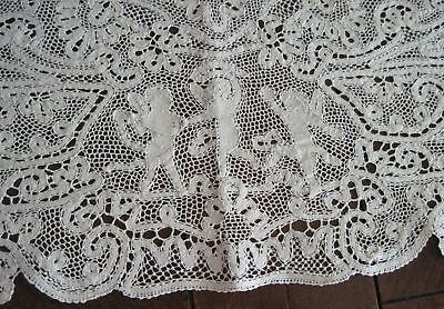 Antique Bobbin Lace Figural Placemats Runner Italy Mother Children Handmade 9 Pc