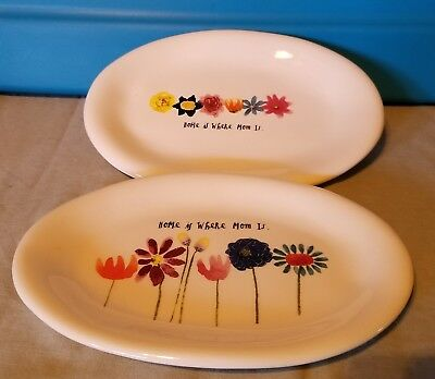 Rae Dunn 2 different Home Is Where Mom Is Floral Oval Plates