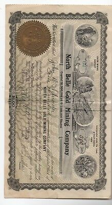 1907 Stock Certificate for 500 Shares North Belle Gold Mining Co South Dakota