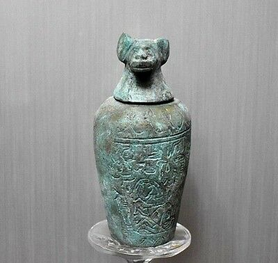 ANCIENT ANTIQUE Egyptian metal son of Horus Canopic Jar HAPI (1500–300