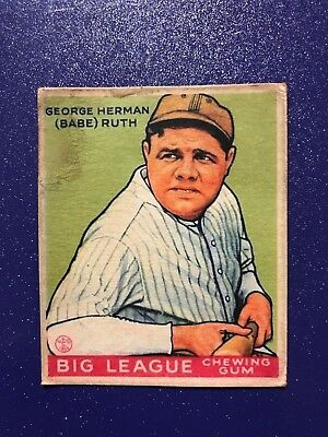 1933 Goudey Babe Ruth Rookie Card #181 - Green