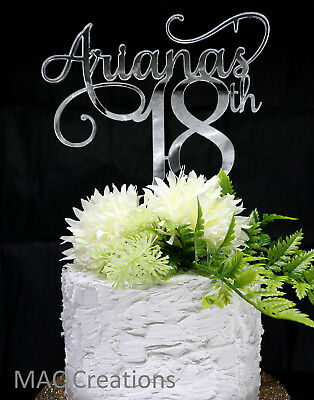 16th 18th 21st Birthday Cake Topper ANY NAME AGE Acrylic Mirror Or Wooden