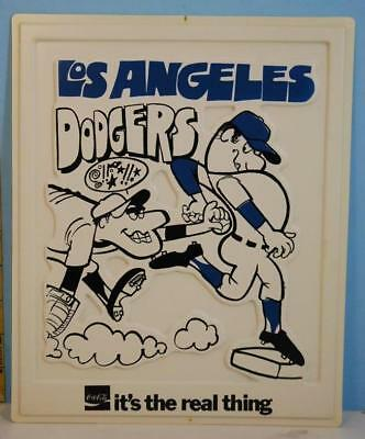 1969 Coca-Cola Coke Los Angeles Dodgers Baseball Plastic Advertising Sign