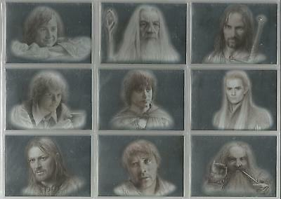 """Lord of the Rings Masterpieces - """"Silver Parallel"""" Set of 9 Chase Cards #1-9"""