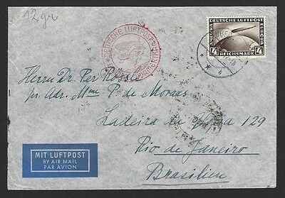 Germany Zeppelin 4RM on 1936 single franked commercial cover Berlin to Brazil
