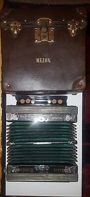 """Mezon Accordion With Case """"a"""" Made In Germany Early 20Th Cent Vgc"""