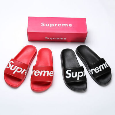 18bbeb91aba SUPREME Quality SLIDES SANDALS SLIPPERS FLIP FLOPS BOX LOGO RED OR BLACK