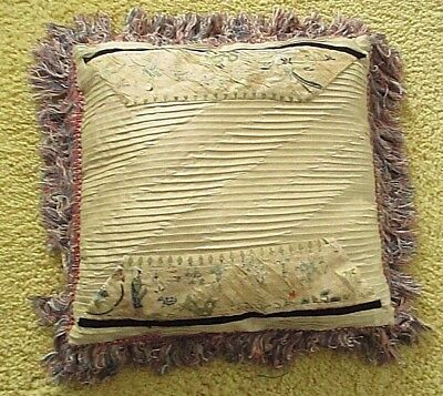 "ANTIQUE EMBROIDERED SILK Panels on 14"" x 14"" Silk Decorative PILLOW"